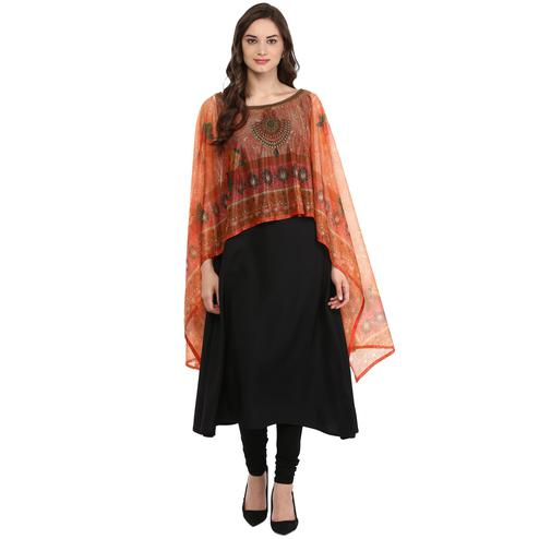 AHALYAA - Black Colored Casual Cape Dupatta Style Crepe Kurti
