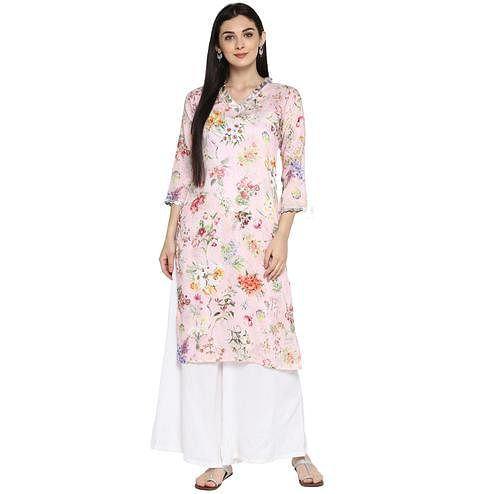 AHALYAA - Pink Colored Casual Floral Straight Kurta with Silver Scallop Lace Detail