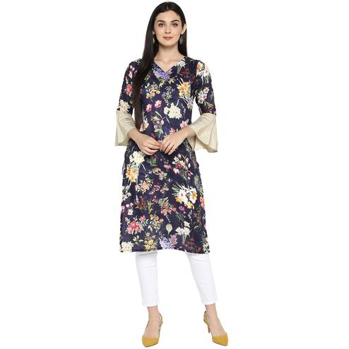 AHALYAA - Navy Blue Colored Casual Floral Print with Bell Sleeves Kurta