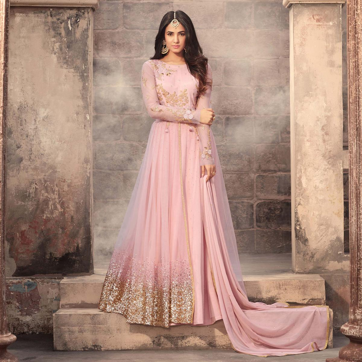 Attractive Pink Colored Designer Embroidered Partywear Net Abaya Style Anarkali Suit