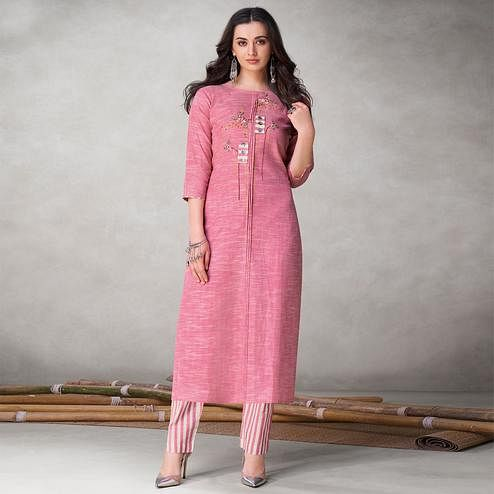 Fantastic Pink Colored Party Wear Embroidered Self Weaved Cotton Kurti Pant Set