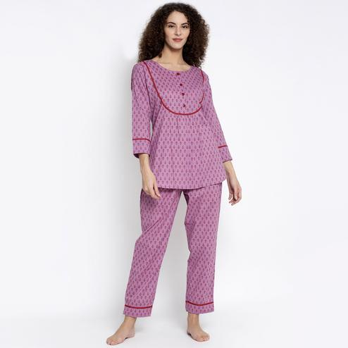 Aujjessa - Lilace Red Cotton Printed Night Suit