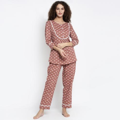 Aujjessa - Light Brown Cotton Printed Night Suit