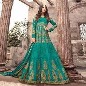 Ravishing Green Colored Designer Embroidered Partywear Art Silk Abaya Style Anarkali Suit