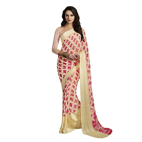 Beautiful Cream-Pink Designer Printed Weightless Georgette Saree