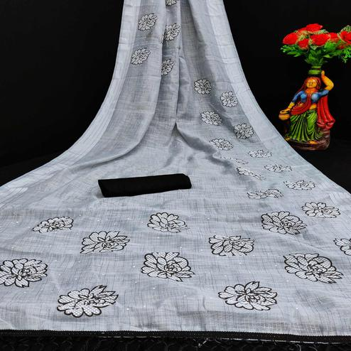 Imposing Grey Coloured Striped Pattern Printed Casual Wear Cotton Saree