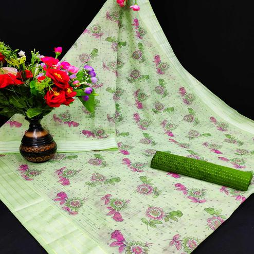 Exceptional Mehendi Coloured Floral Print Casual Wear Striped Pattern Cotton Saree