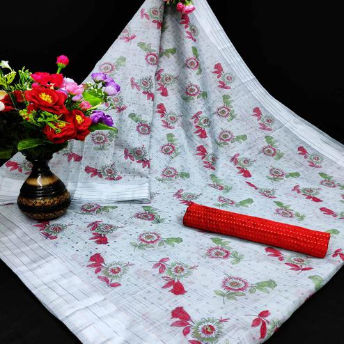 Flattering Grey Coloured Floral Print Casual Wear Striped Pattern Cottton Saree