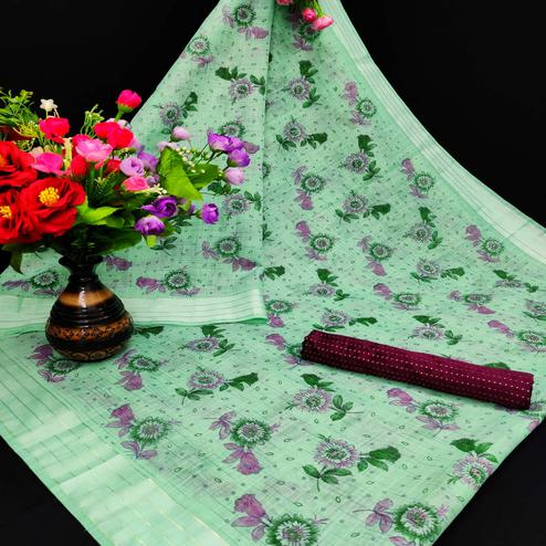 Adorning Sea Green Coloured Floral Print Casual Wear Striped Pattern Cotton Saree