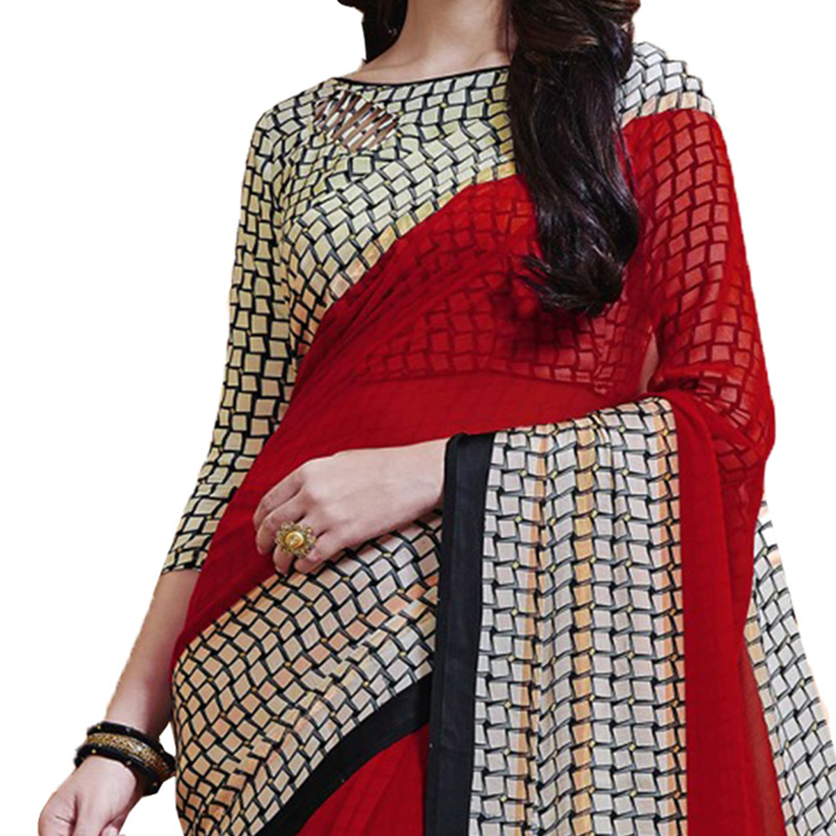 Charming Red Designer Printed Weightless Georgette Saree
