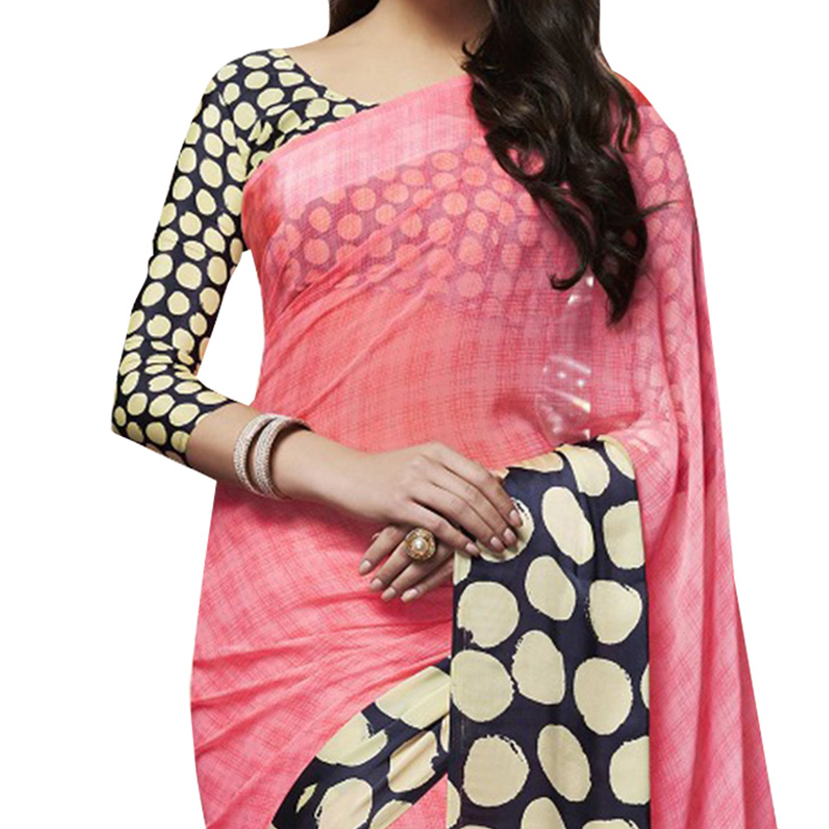 Gorgeous Pink Designer Printed Weightless Georgette Saree