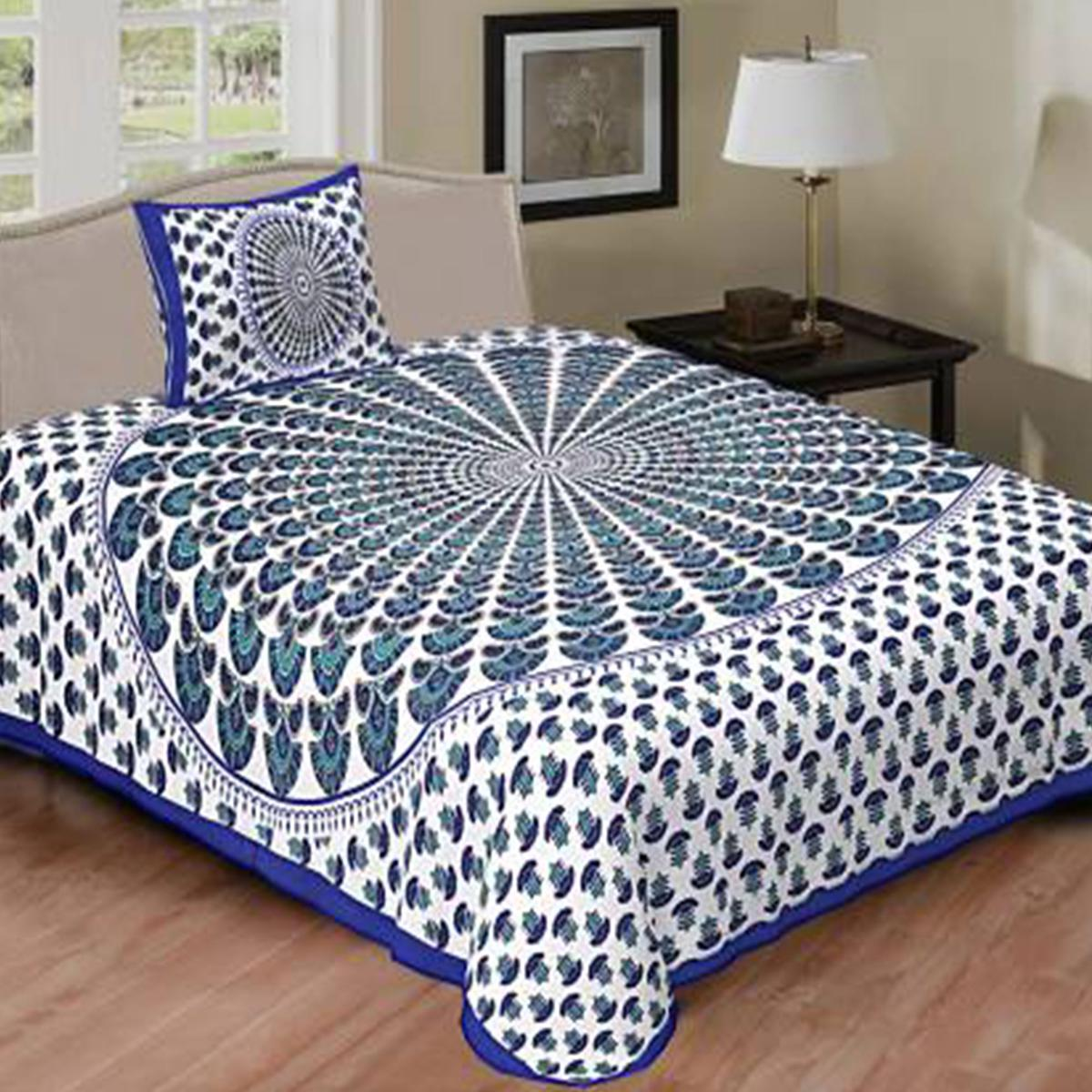 POOJA FASHION - Blue Colored Printed Single Cotton Bedsheet With 1 Pillow Cover