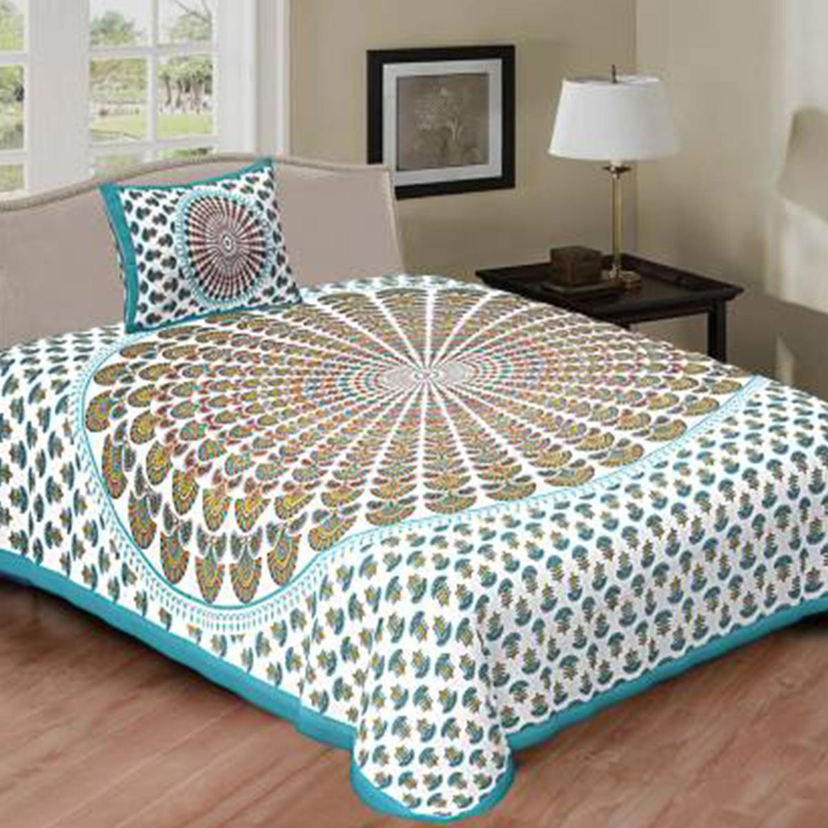 POOJA FASHION - C-Green Colored Printed Single Cotton Bedsheet With 1 Pillow Cover