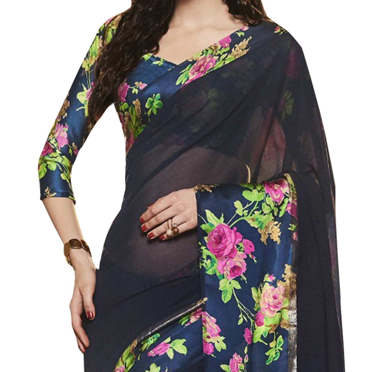Ravishing Navy Blue Designer Printed Weightless Georgette Saree