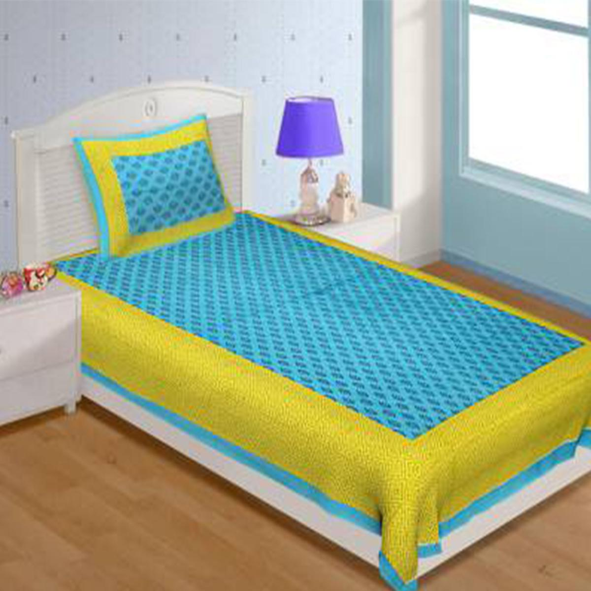 POOJA FASHION - Green Colored Printed Single Cotton Bedsheet With 1 Pillow Cover
