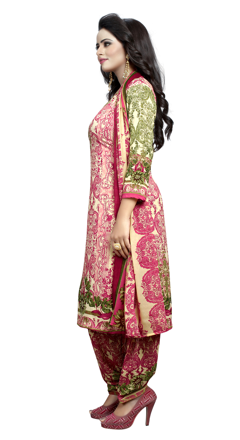 Pink - Green Casual Printed Salwar Suit