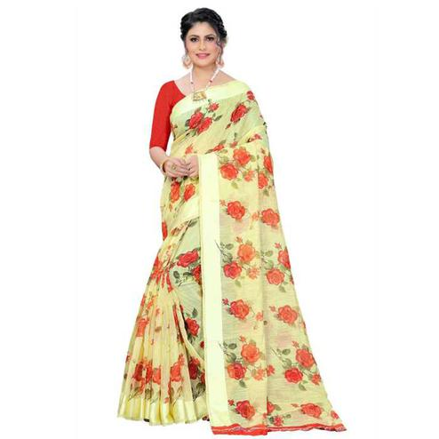 Charming Yellow Colored Floral Print work Festive Wear Linen Saree