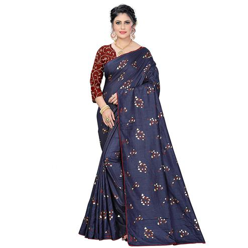 Eye-catching Navy Blue Colored Partywear Foil Work Printed Art Silk Saree