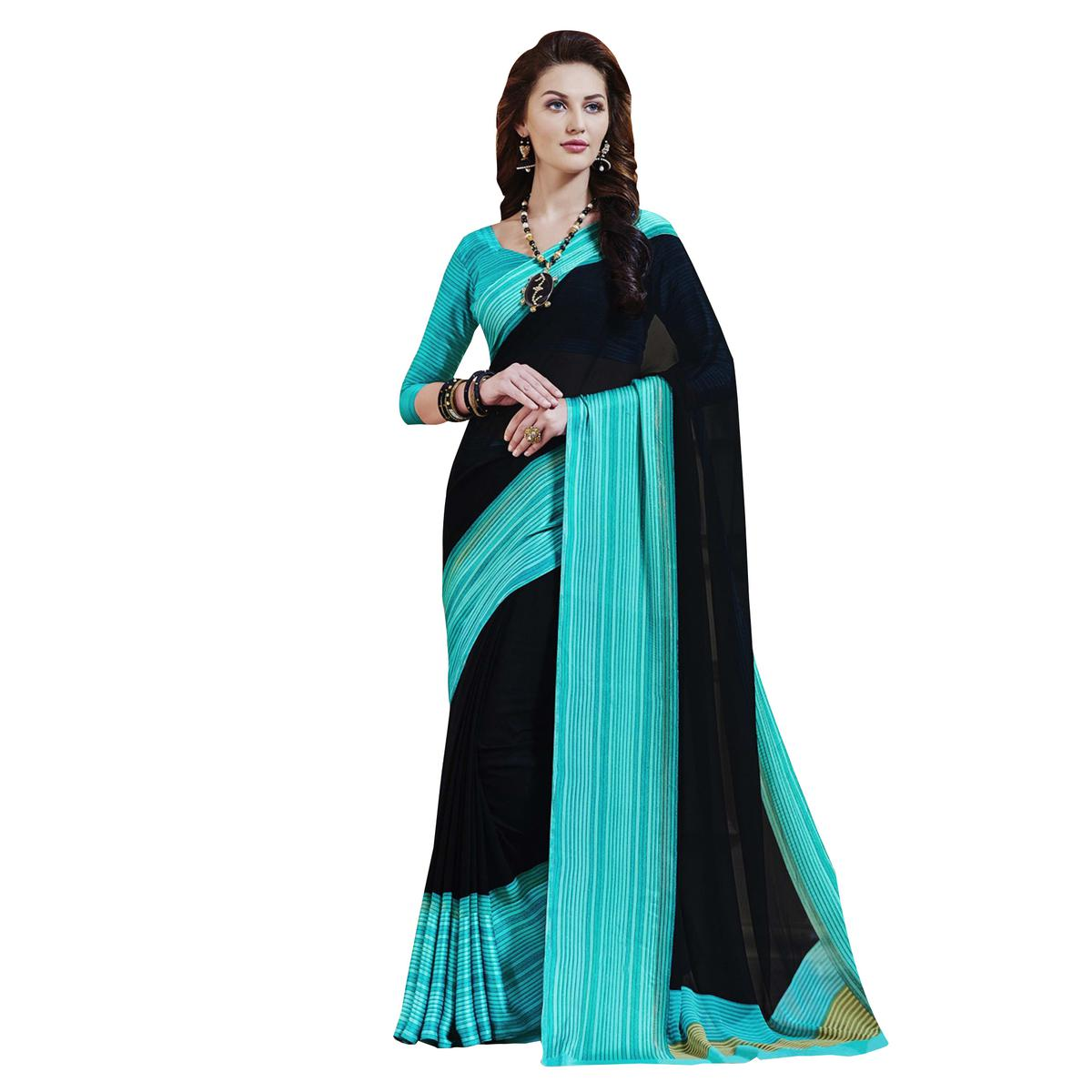 Lovely Black-Turquoise Designer Printed Weightless Georgette Saree