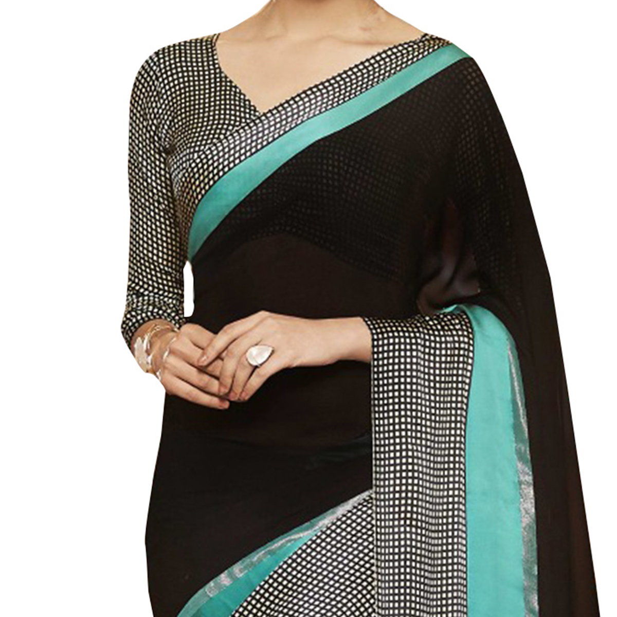 Attractive Black Designer Printed Weightless Georgette Saree