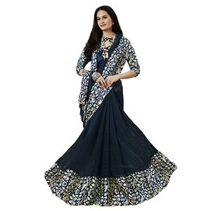 Sizzling Gray Designer Printed Weightless Georgette Saree