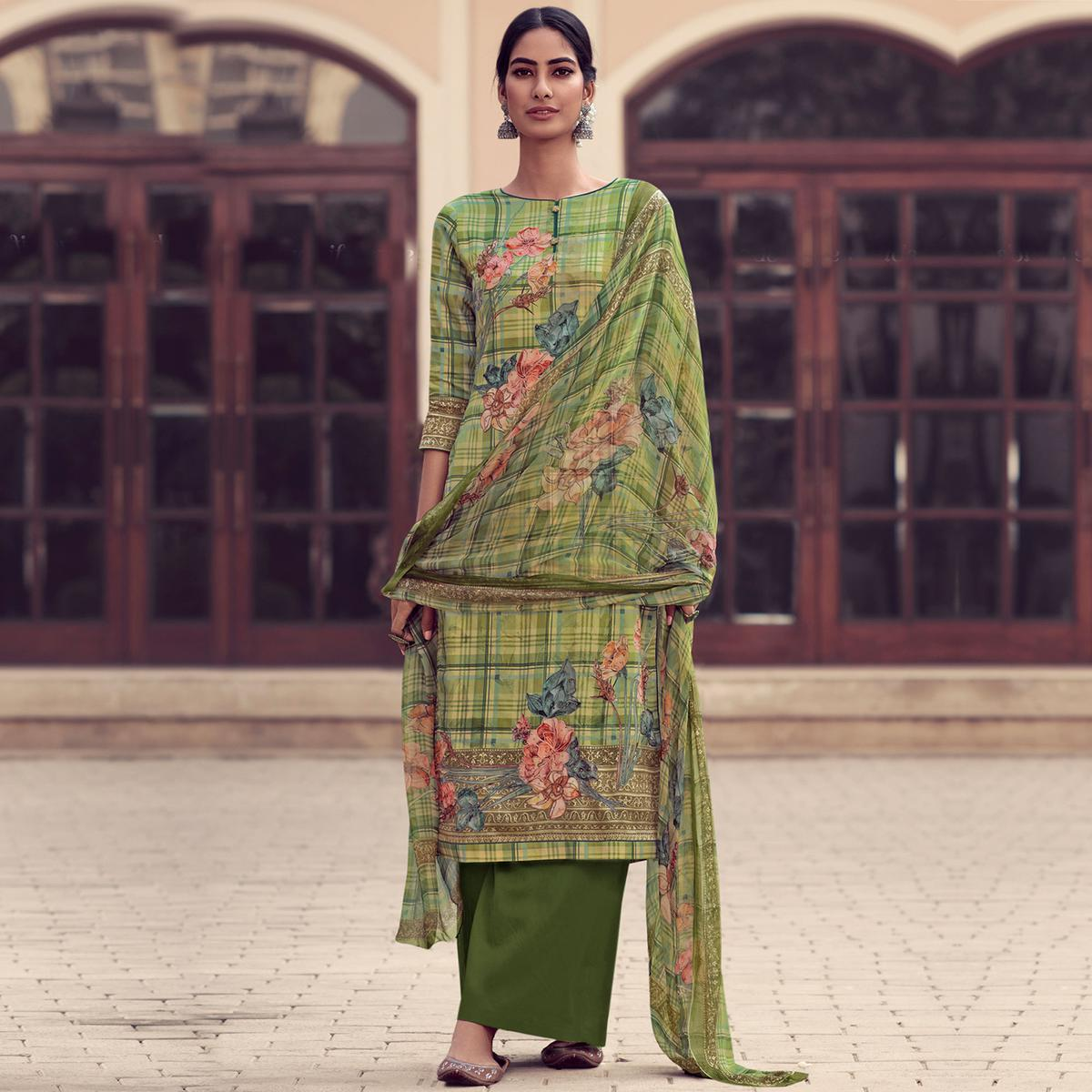 Stylee Lifestyle - Green Jam Satin Embroidered Dress Material