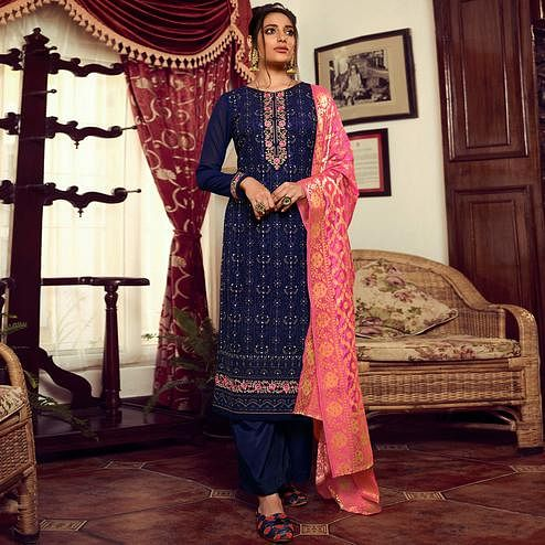 Stylee Lifestyle - Navy Blue Georgette Embroidered Dress Material