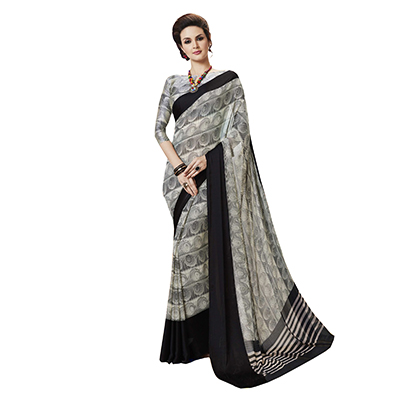 Charming Off-White-Black Designer Printed Weightless Georgette Saree