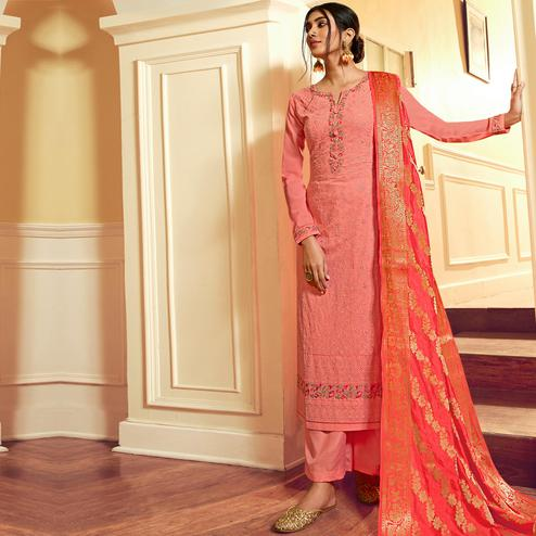Stylee Lifestyle - Pink Georgette Embroidered Dress Material