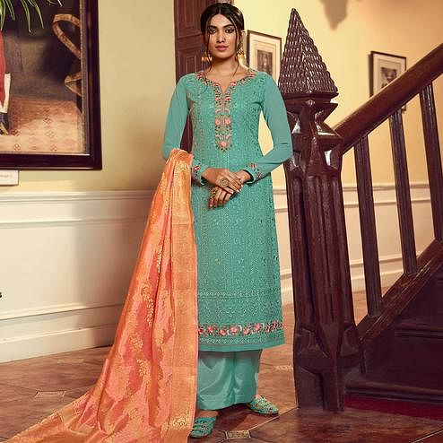 Stylee Lifestyle - Turquoise Georgette Embroidered Dress Material