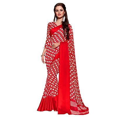 Appealing Red Designer Printed Weightless Georgette Saree