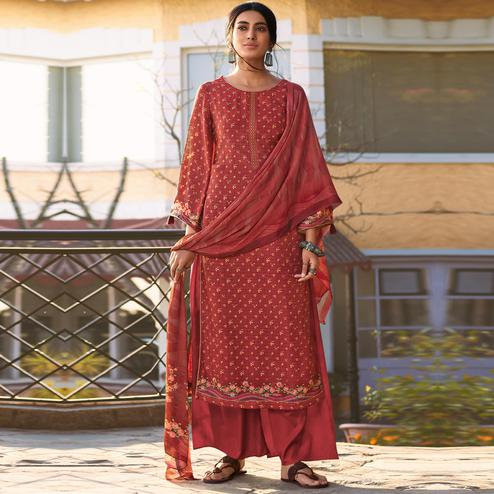 Stylee Lifestyle - Red Muslin Printed Dress Material