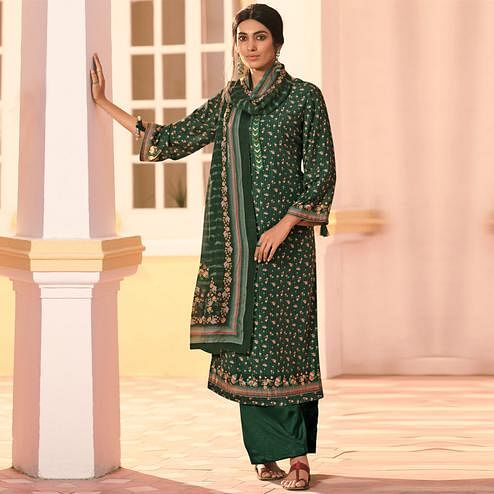 Stylee Lifestyle - Green Muslin Printed Dress Material