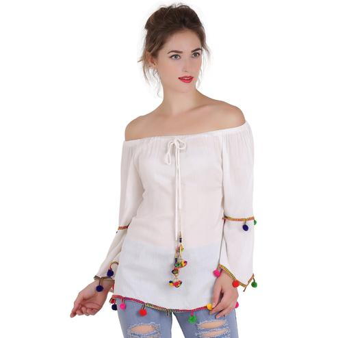OMADAM - White Colored Casual Cotton Rayon Blend Top