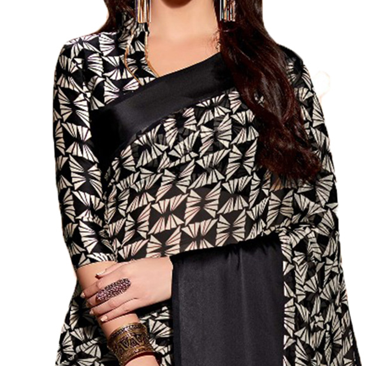 Ravishing Black Designer Printed Weightless Georgette Saree