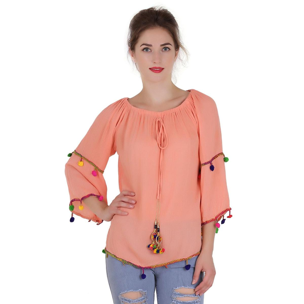 OMADAM - Orange Colored Casual Cotton Rayon Blend Top
