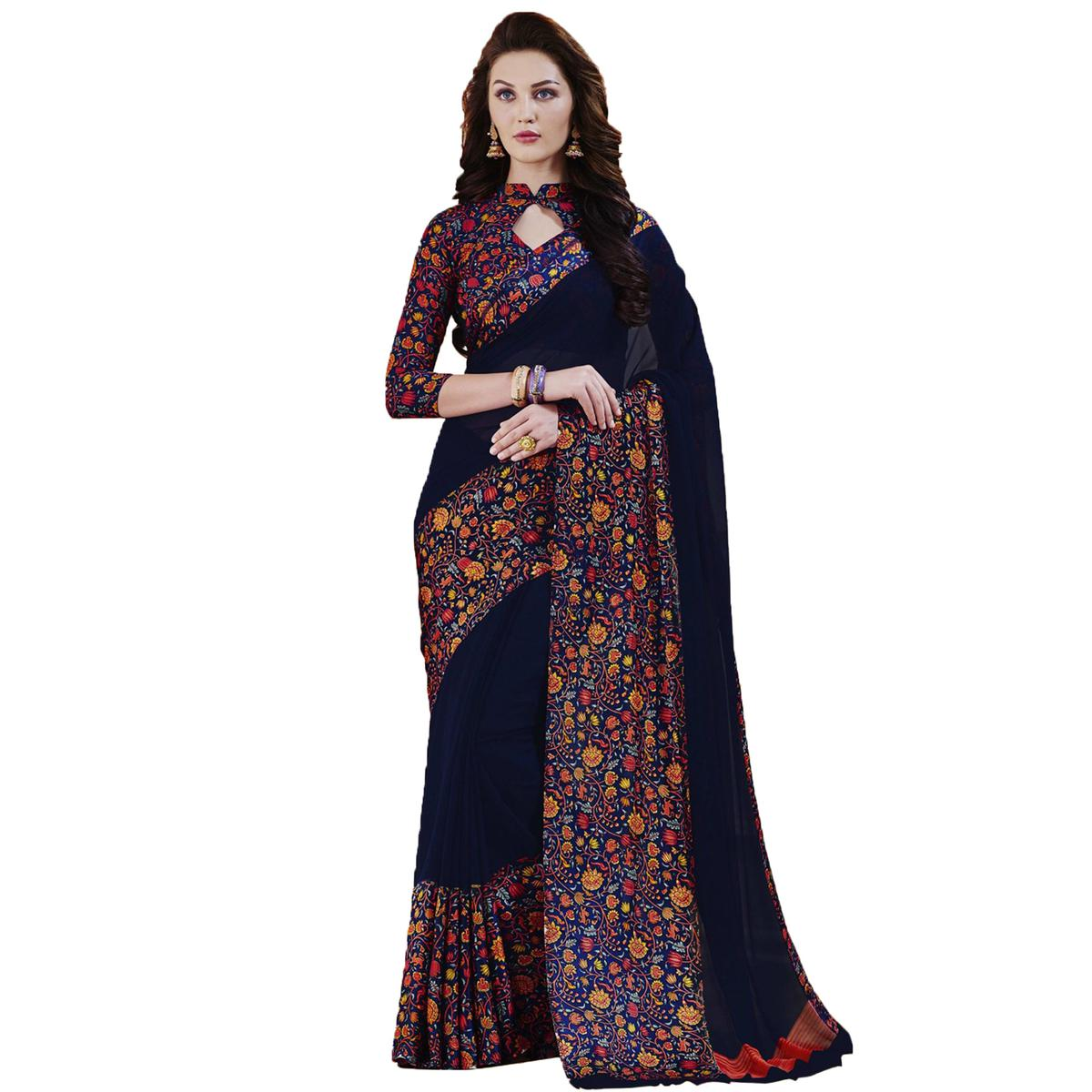 Graceful Navy Blue Designer Printed Weightless Georgette Saree