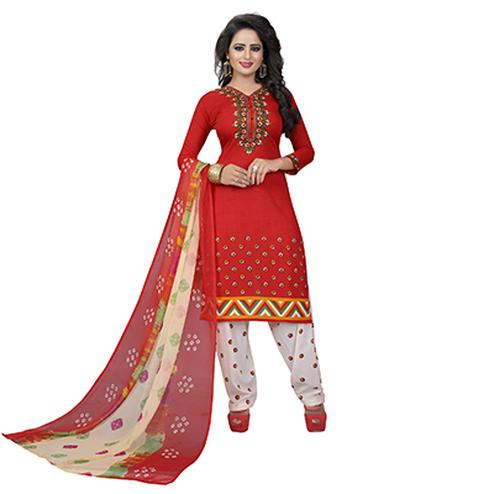 Red - White Premium Leon Fabric Salwar Suit