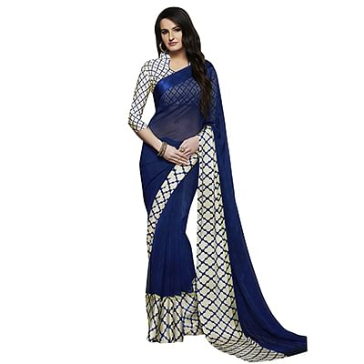 Stunning Blue-Cream Designer Printed Weightless Weightless Georgette With Satin Border Saree