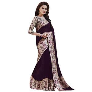 Lovely Purple Designer Printed Weightless Georgette Saree