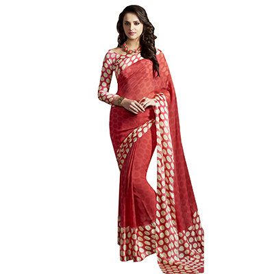 Attractive Orange Designer Printed Weightless Georgette Saree