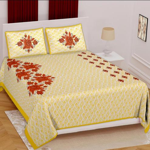 POOJA FASHION - Yellow Colored Printed Queen Double Cotton Bedsheet With 2 Pillow Cover