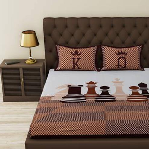 POOJA FASHION - Black Colored Printed Queen Double Cotton Bedsheet With 2 Pillow Cover