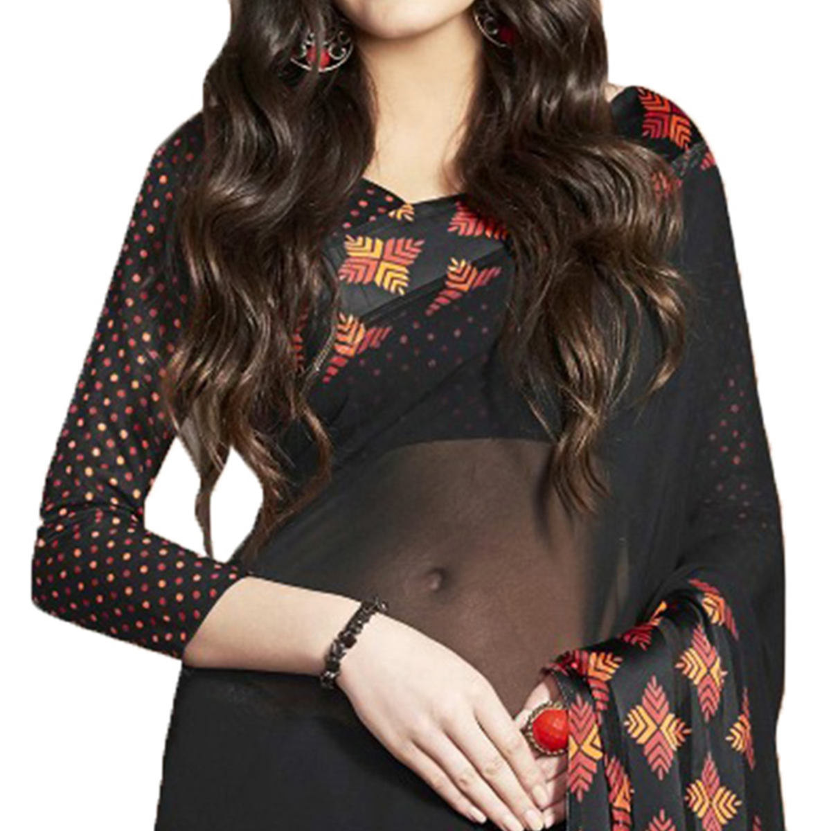 Sizzling Black Designer Printed Weightless Georgette Saree