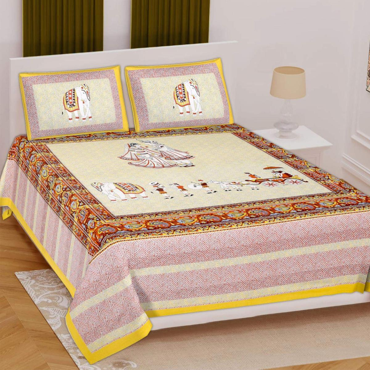 POOJA FASHION - Cream Colored Printed Queen Double Cotton Bedsheet With 2 Pillow Cover