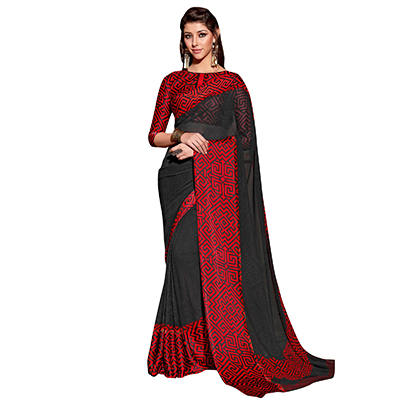 Charming Black-Red Designer Printed Weightless Georgette Saree