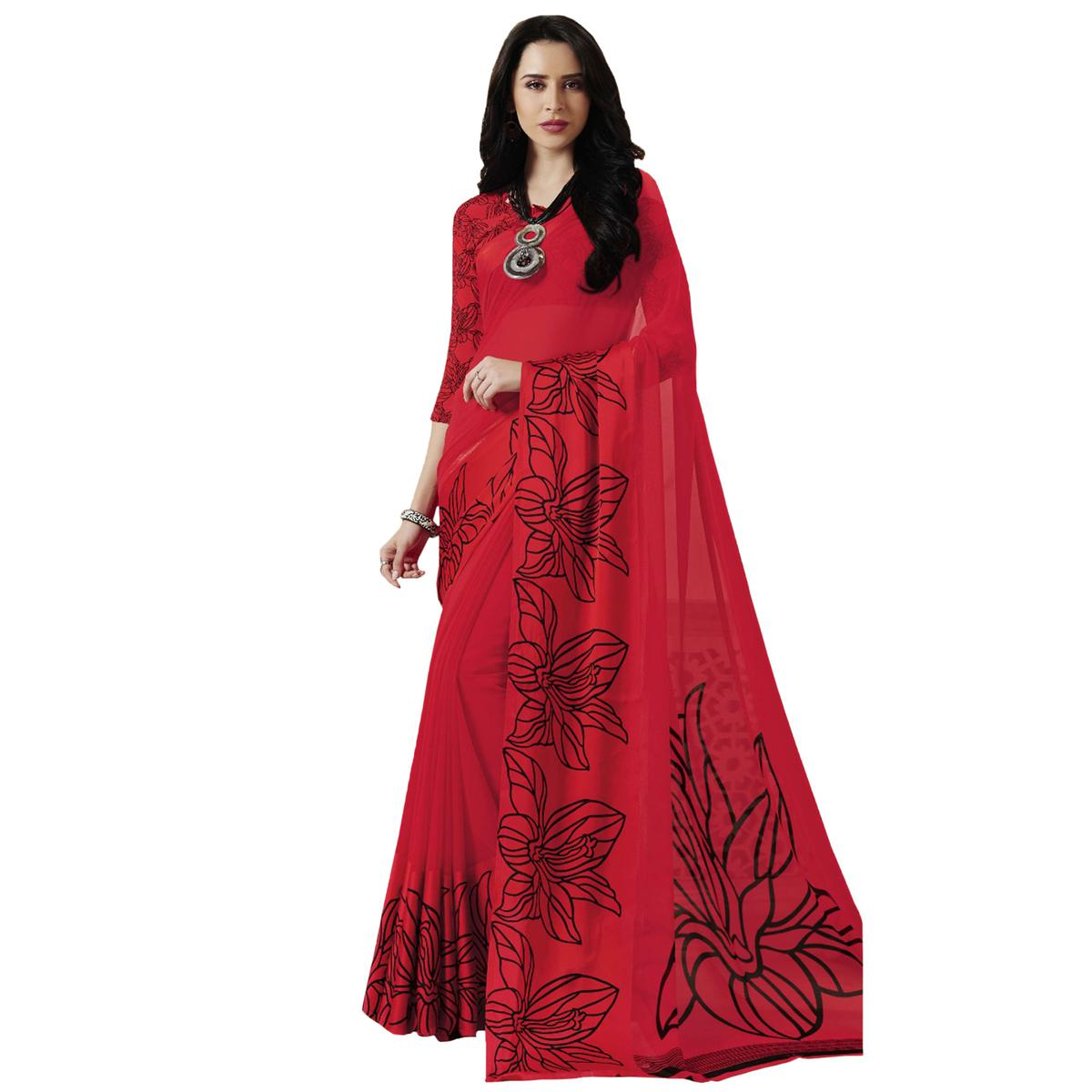Alluring Red Designer Printed Weightless Georgette Saree