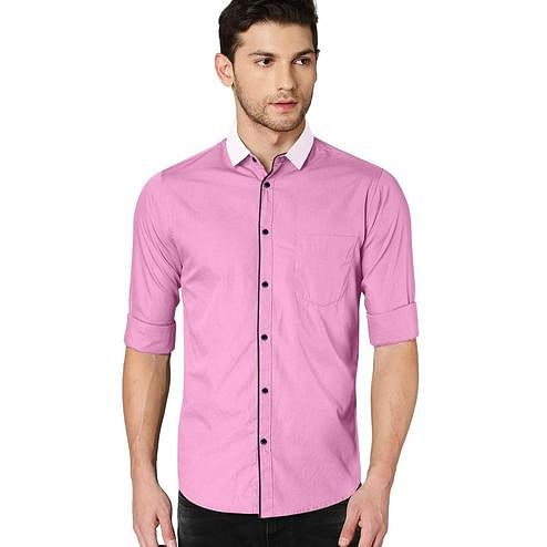 IndoPrimo - Pink Colored Casual Wear Pure Cotton Shirt