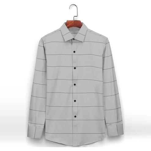 IndoPrimo - Grey Colored Casual Wear Pure Cotton Shirt