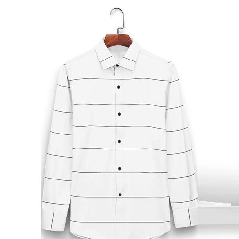 IndoPrimo - White Colored Casual Wear Pure Cotton Shirt